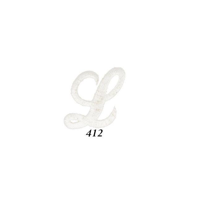 "Ecusson Thermocollant Lettre Calligraphie Anglaise ""L"" Blanche"