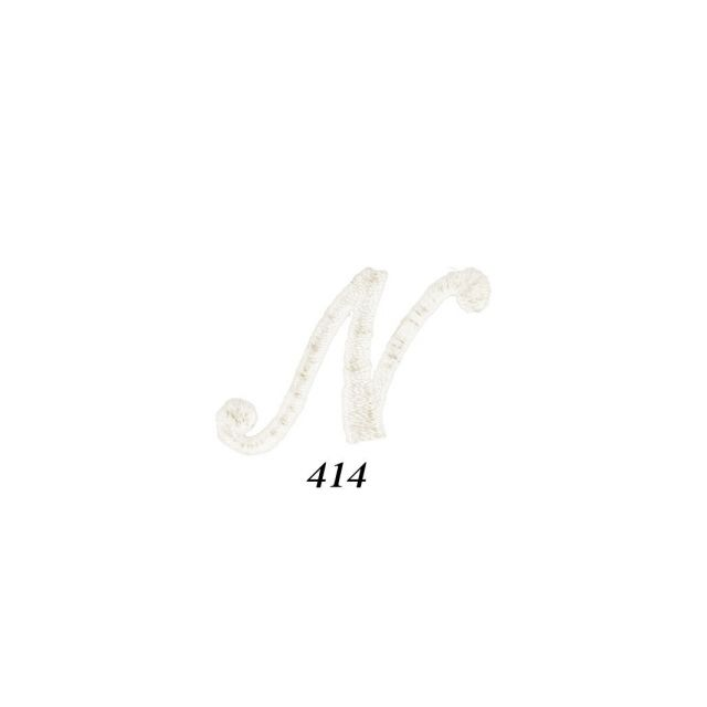"""Ecusson Thermocollant Lettre Calligraphie Anglaise """"N"""" Blanche"""