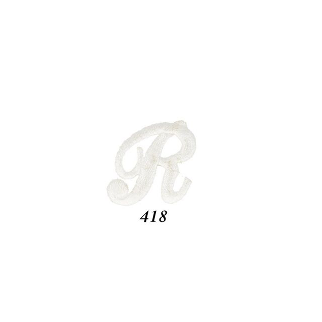 """Ecusson Thermocollant Lettre Calligraphie Anglaise """"R"""" Blanche"""