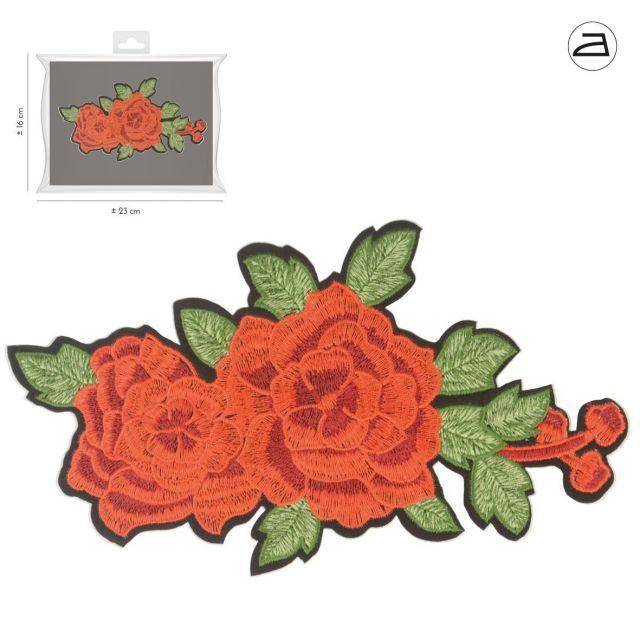 Ecusson Thermocollant Duo de Fleurs Rouges et leurs feuilles vertes brodées XL