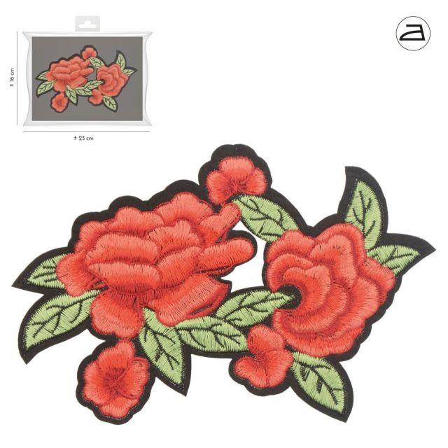 Ecusson Thermocollant Duo de Fleurs Rouges et leurs feuilles vertes et noires brodées XL