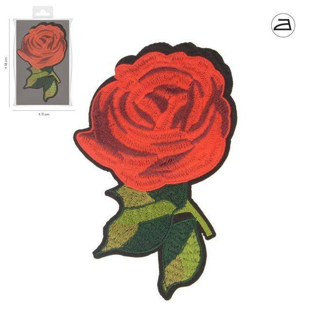 Ecusson Thermocollant Rose Brodée XL
