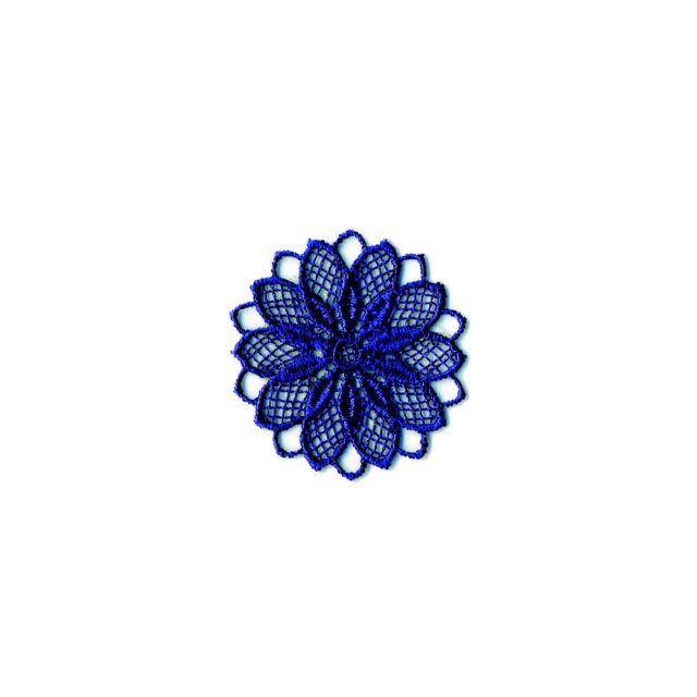 Ecusson Thermocollant Fleur Effet Dentelle Bleue