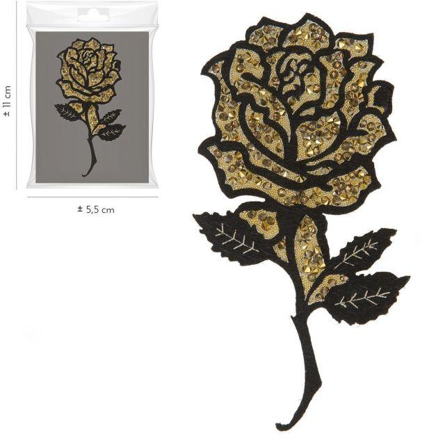 Ecusson Thermocollant Rose Pailletée Or XL