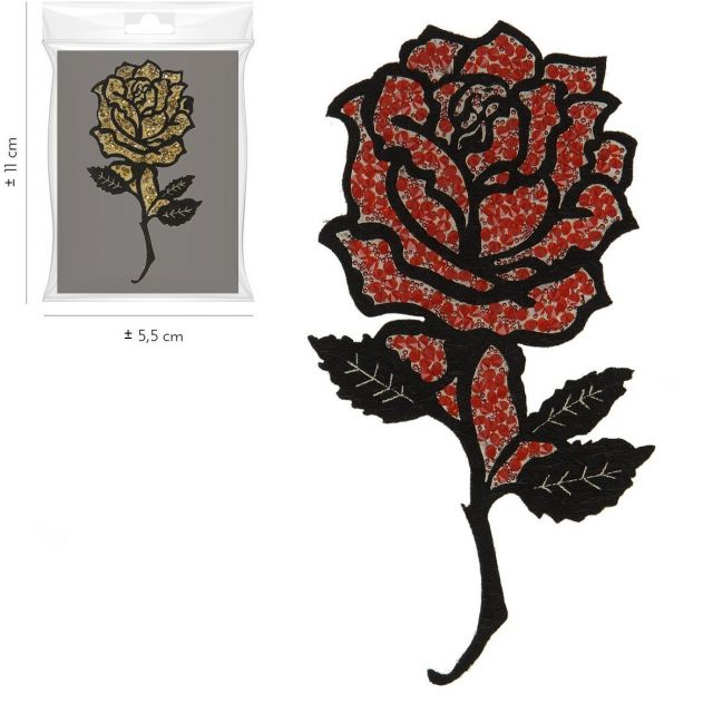 Ecusson Thermocollant Rose Pailletée Rouge XL