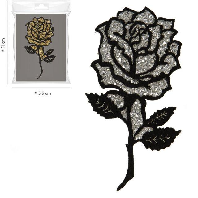 Ecusson Thermocollant Rose Pailletée Gris Anthracite XL