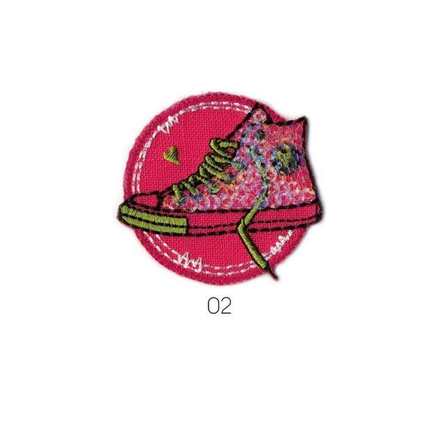 Ecusson Thermocollant Basket à Paillette vert/rose