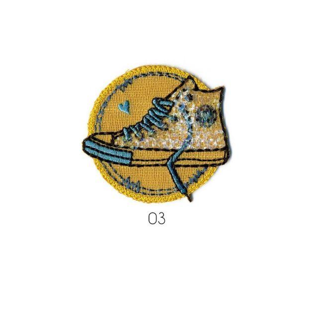 Ecusson Thermocollant Basket à Paillette bleu/jaune
