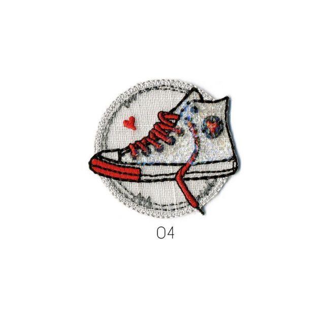 Ecusson Thermocollant Basket à Paillette rouge/blanc