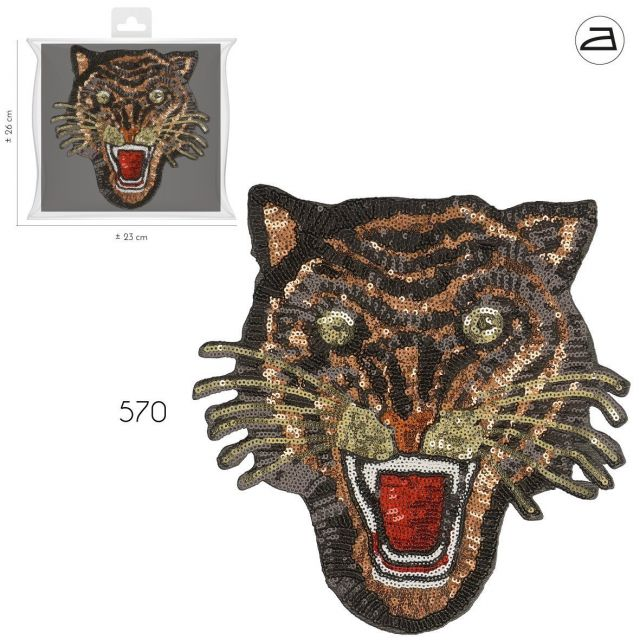 Ecusson Thermocollant Patch Tigre Sequins Nude et Or XL