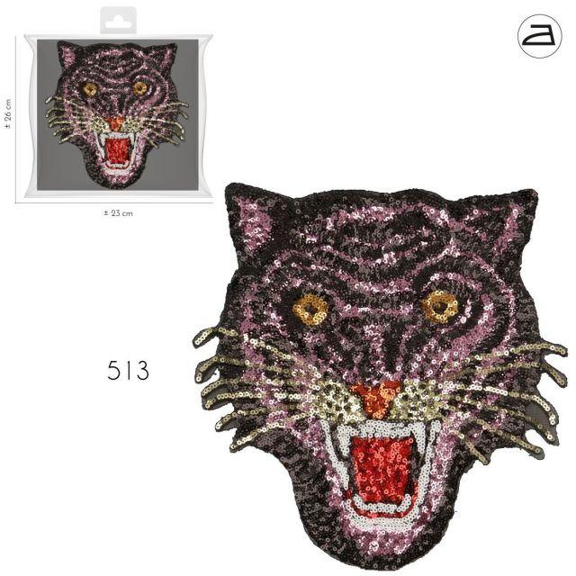 Ecusson Thermocollant Patch Tigre Sequins Rose et Or XL