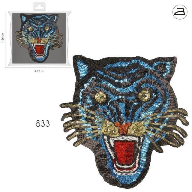 Ecusson Thermocollant Patch Tigre Sequins Bleu et Or XL