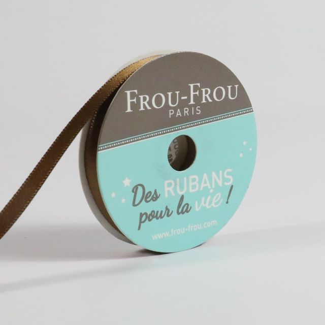 Bobinette Ruban Satin double face Frou-Frou Brun - 6 mm x 6 mètres