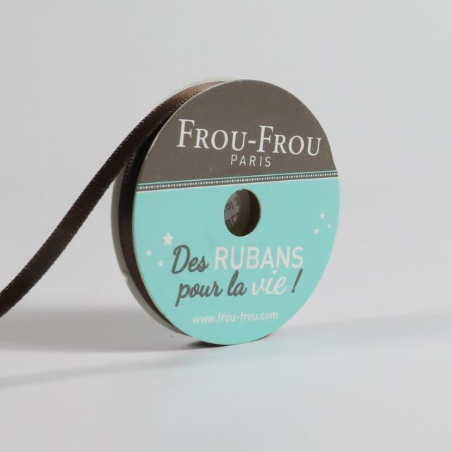 Bobinette Ruban Satin double face Frou-Frou Chocolat - 6 mm x 6 mètres