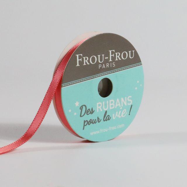 Bobinette Ruban Satin double face Frou-Frou Corail - 6 mm x 6 mètres