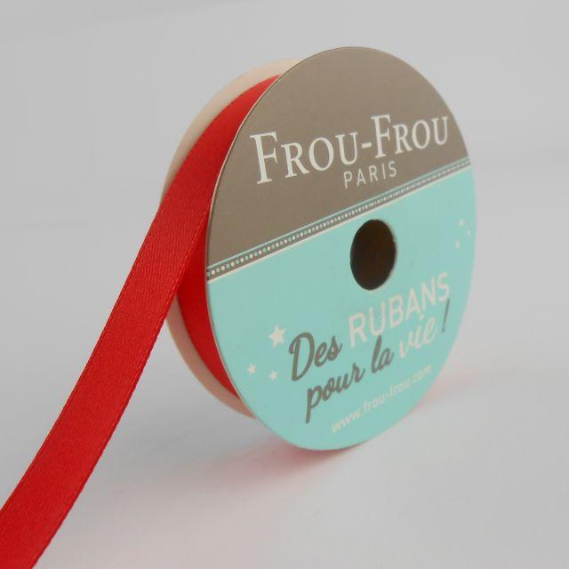 Bobinette Ruban Satin double face Frou-Frou Coquelicot - 9 mm x 6 mètres