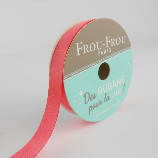 Bobinette Ruban Satin double face Frou-Frou Corail - 9 mm x 6 mètres