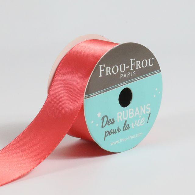 Bobinette Ruban Satin double face Frou-Frou Corail - 25 mm x 5 mètres