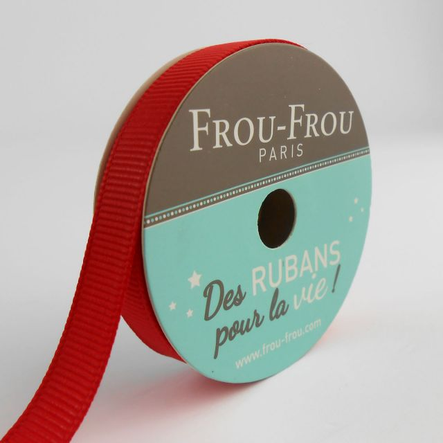 Bobinette Ruban Gros grain Frou-Frou Coquelicot - 9 mm x 6 mètres