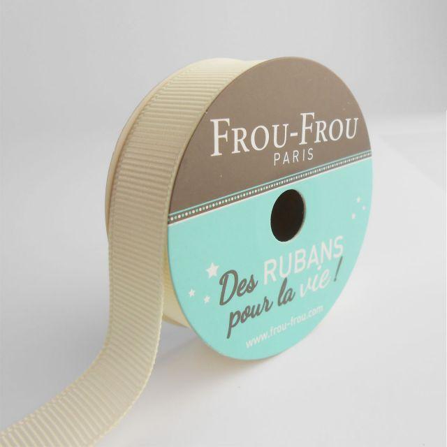 Bobinette Ruban Gros grain Frou-Frou Ivoire nacre - 16 mm x 6 mètres