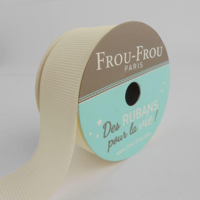 Bobinette Ruban Gros grain Frou-Frou Ivoire nacre - 25 mm x 5 mètres