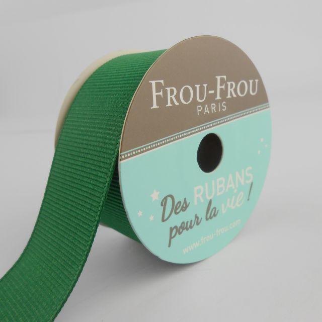 Bobinette Ruban Gros grain Frou-Frou Emeraude - 25 mm x 5 mètres