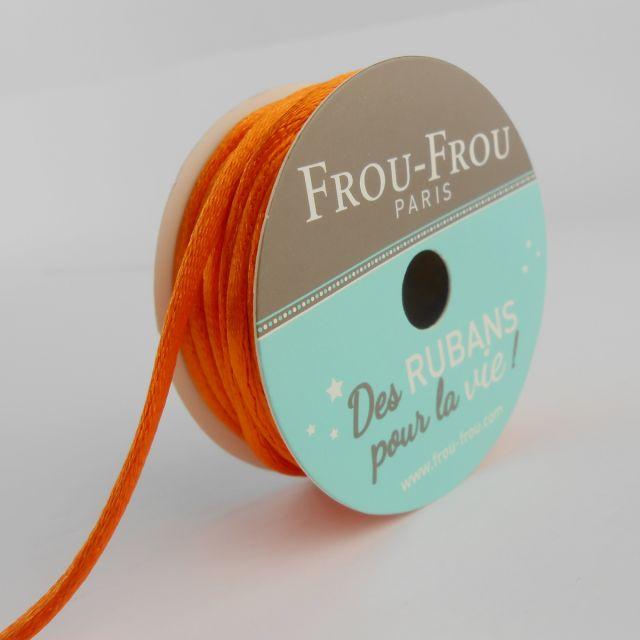 Bobinette Ruban Cordon de satin Frou-Frou Orange flamboyant - 2 mm x 10 mètres