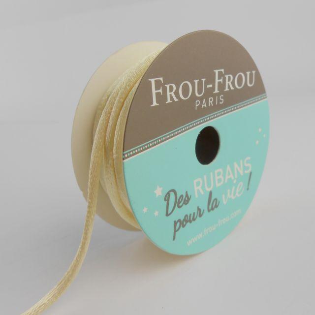 Bobinette Ruban Cordon de satin Frou-Frou Ivoire nacre - 2 mm x 10 mètres