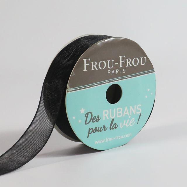 Bobinette Ruban Organza Frou-Frou Noir de jais - 16 mm x 8 mètres