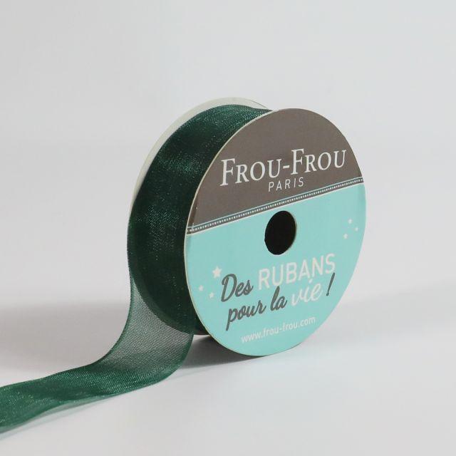 Bobinette Ruban Organza Frou-Frou Emeraude - 16 mm x 8 mètres