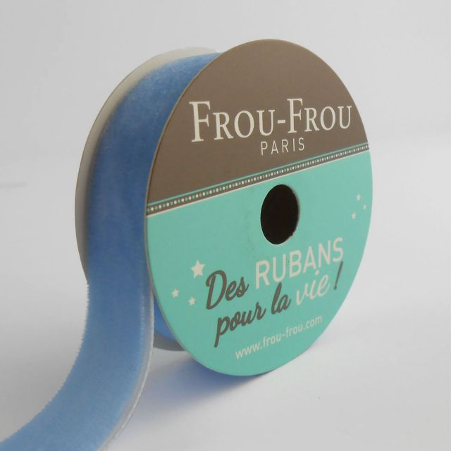 Bobinette Ruban Velours uni Frou-Frou Céleste - 16 mm x 1,5 mètres