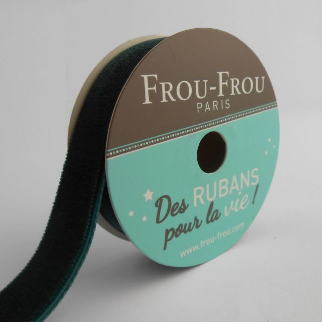 Bobinette Ruban Velours uni Frou-Frou Emeraude - 16 mm x 1,5 mètres