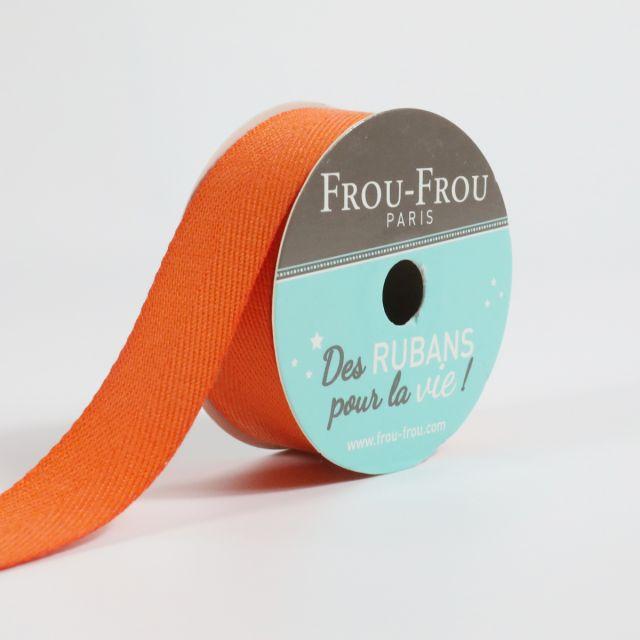 Bobinette Ruban Sergé Frou-Frou Orange flamboyant - 19 mm x 4 mètres