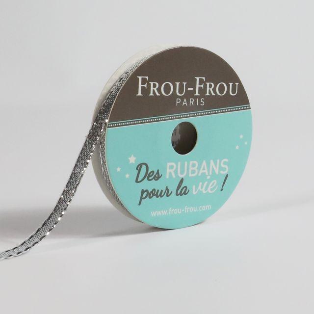 Bobinette Ruban Brillant Frou-Frou Argent - 6 mm x 4 mètres