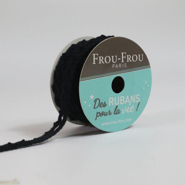 Bobinette Ruban Dentelle Frou-Frou Noir de jais - 10 mm x 4 mètres