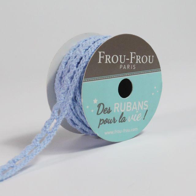 Bobinette Ruban Dentelle Frou-Frou Céleste - 10 mm x 4 mètres