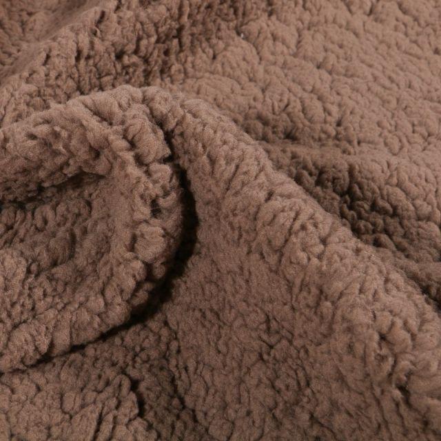 Fausse fourrure mouton Marron choco - Par 10 cm