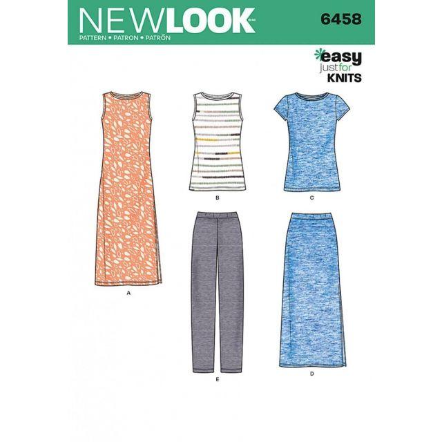 Patron New Look 6458 Robe, Tee Shirt, Pantalon, Jupe