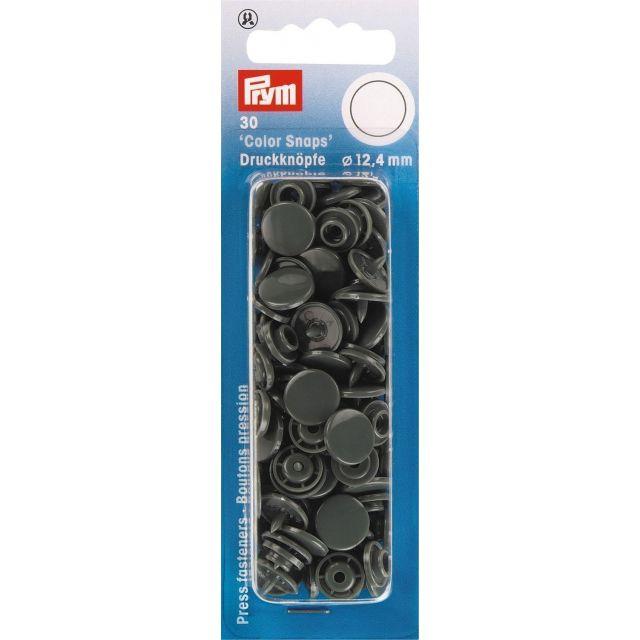 Prym 30 Boutons pression Color Snaps gris foncé 12,4 mm
