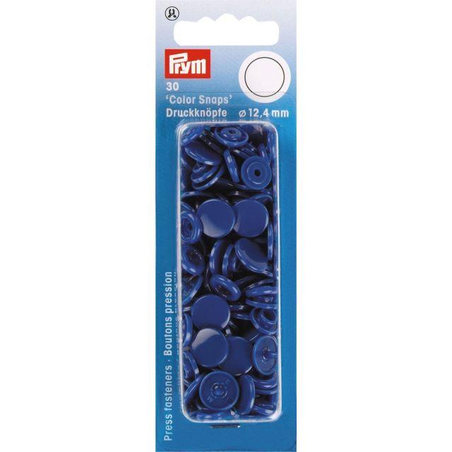 Prym 30 Boutons pression Color Snaps bleu royal 12,4 mm