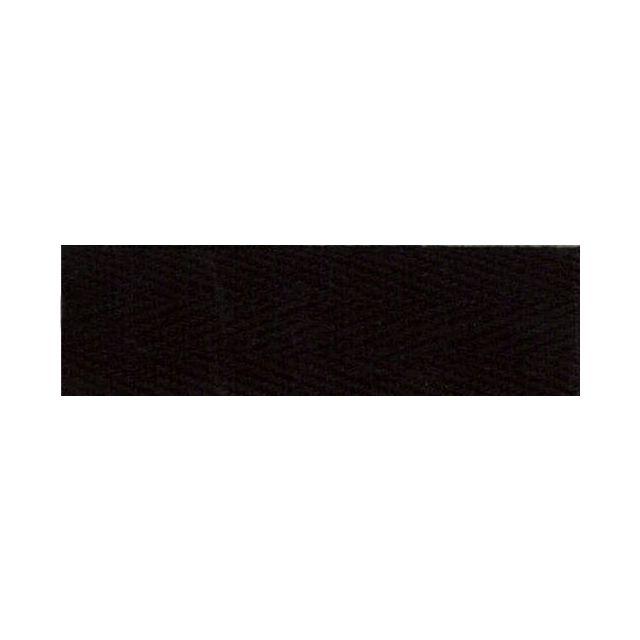 Sergé Coton 25 mm Noir x1m