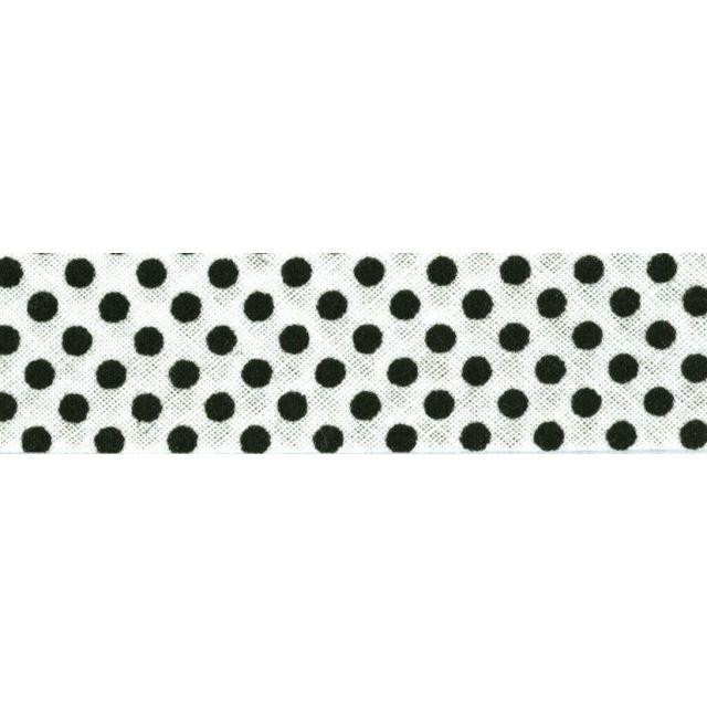 Biais imprimé coton 20 mm Blanc Minis Pois Noirs  x1m