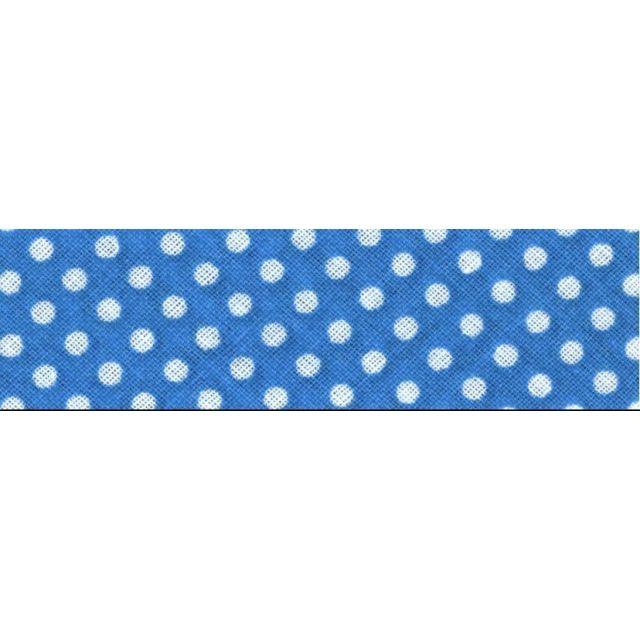 Biais imprimé coton 20 mm Bleu Azur Mini Pois Blanc x1m