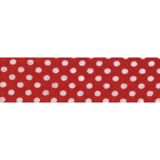 Biais imprimé coton 20 mm Rouge Mini Pois Blanc x1m