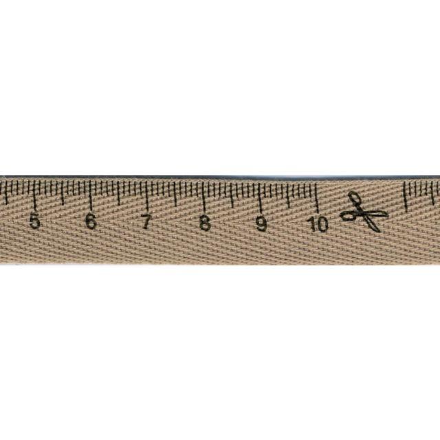 Ruban imprimé 15 mm Marron Mètre couture x1m