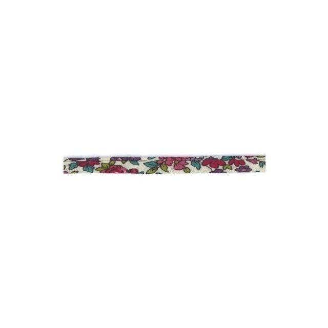 Cordon fleuri spaghetti Frou-Frou Ecru, framboise et violet
