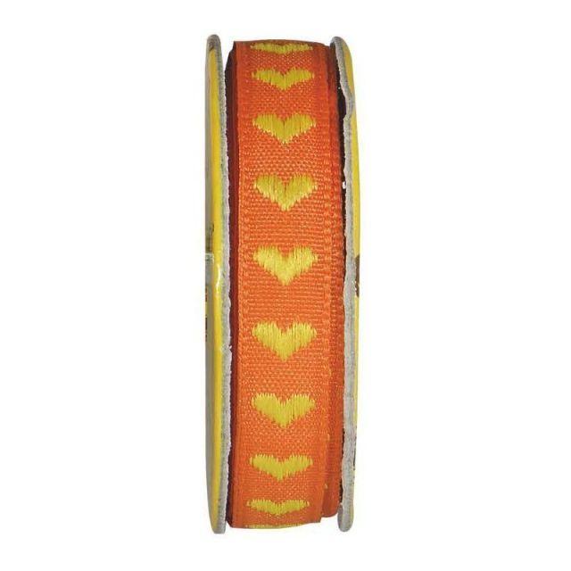 Ruban cœur Orange - bobinette 2m