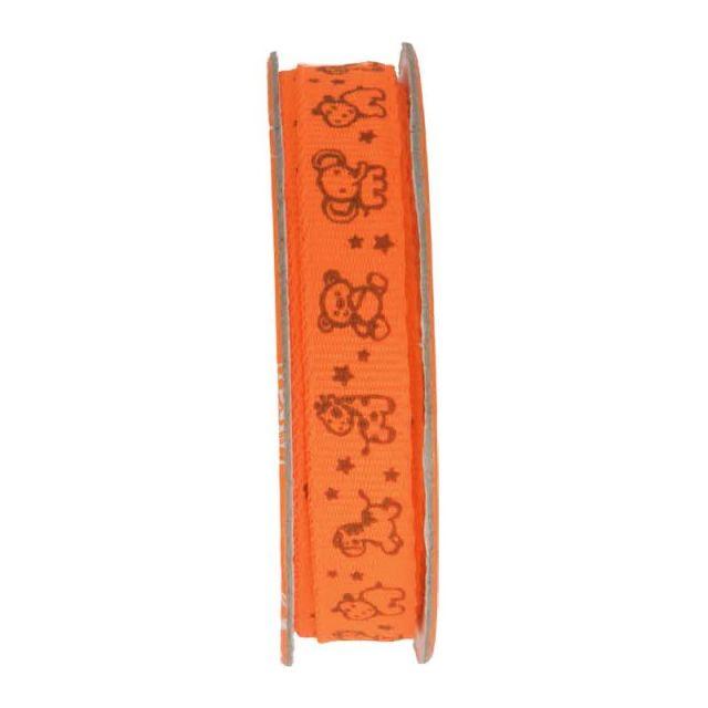 Ruban imprimé animaux Orange - bobinette 2m