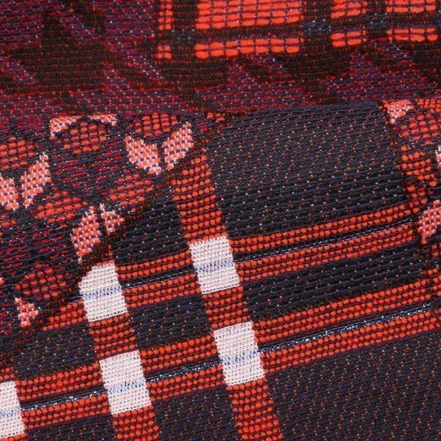 Tissu Gianni Maille Légère Lurex Panneaux géométriques Rouges et bleus - Par 10 cm