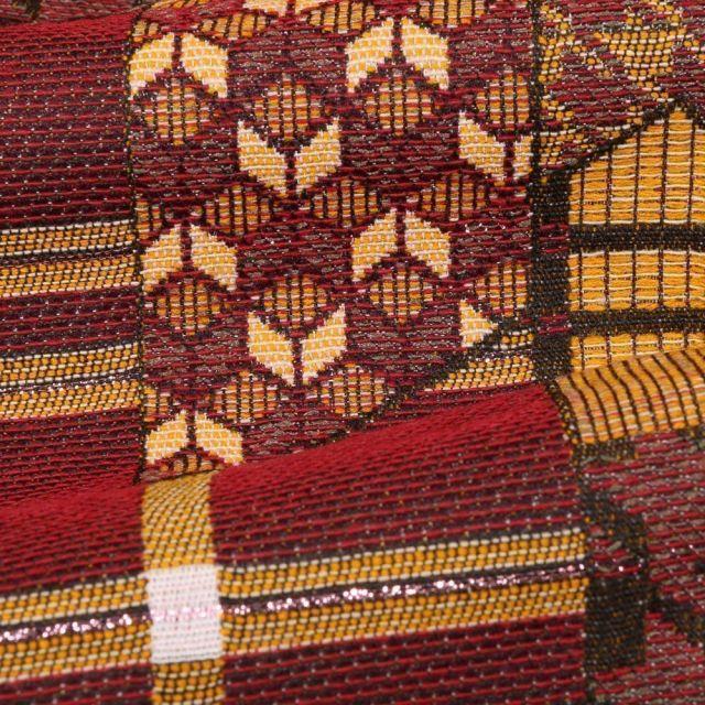 Tissu Gianni Maille Légère Lurex Panneaux géométriques Jaunes et rouges - Par 10 cm
